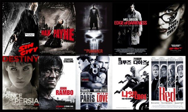 Black white red movie posters